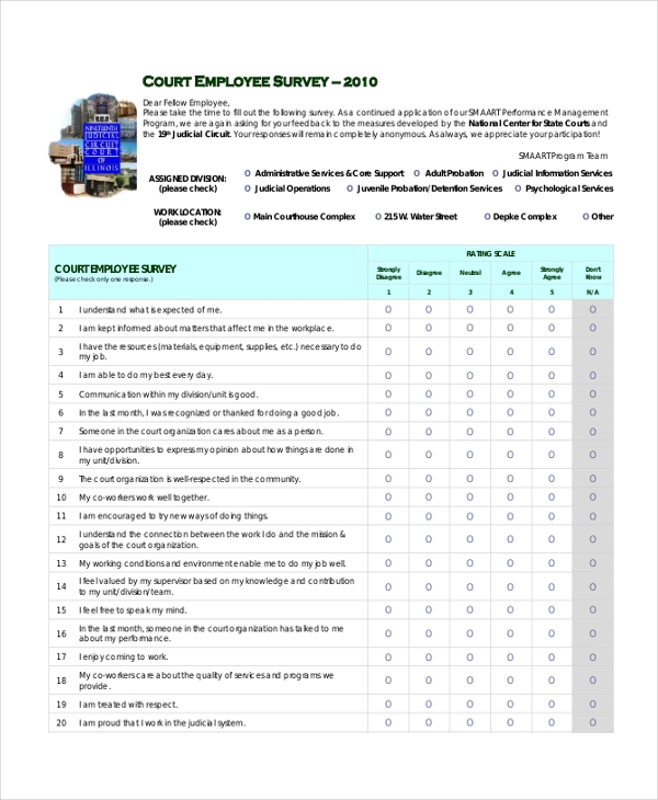 Employee Satisfaction Survey Template Appendix Employees