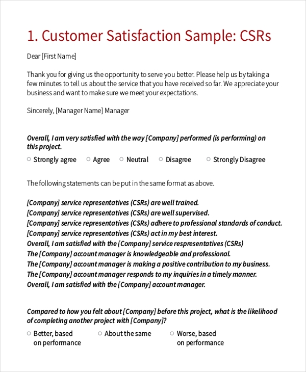 Sample Satisfaction Questionnaire Form - 11+ Free Documents In