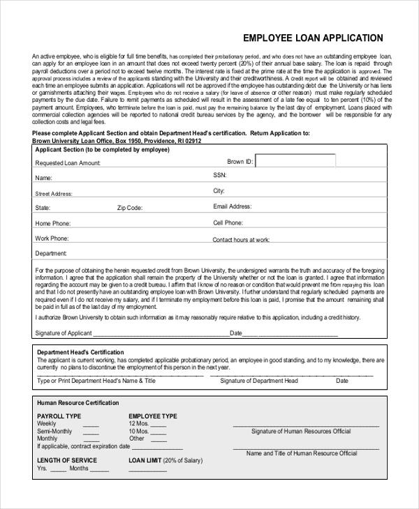 employee loan application