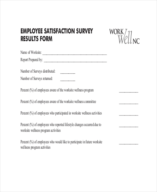 Sample Employee Satisfaction Survey Form 9 Free Documents in PDF – Sample Employee Satisfaction Survey