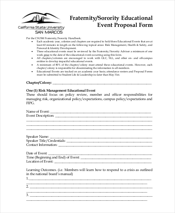 Sample Event Proposal Forms   Free Documents In Pdf