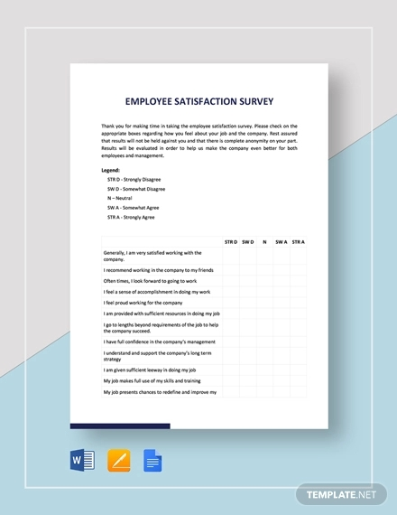 Free 9 Sample Employee Satisfaction Survey Forms In Pdf Pages Google Docs Ms Word