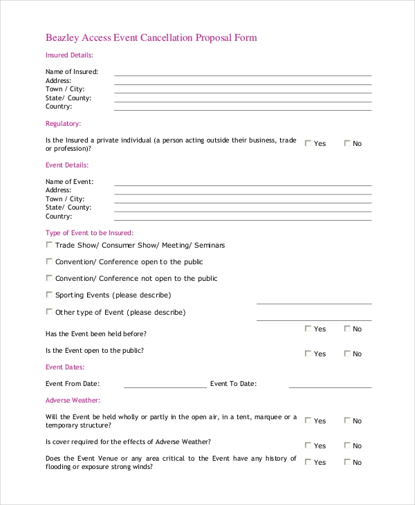 event cancellation proposal form