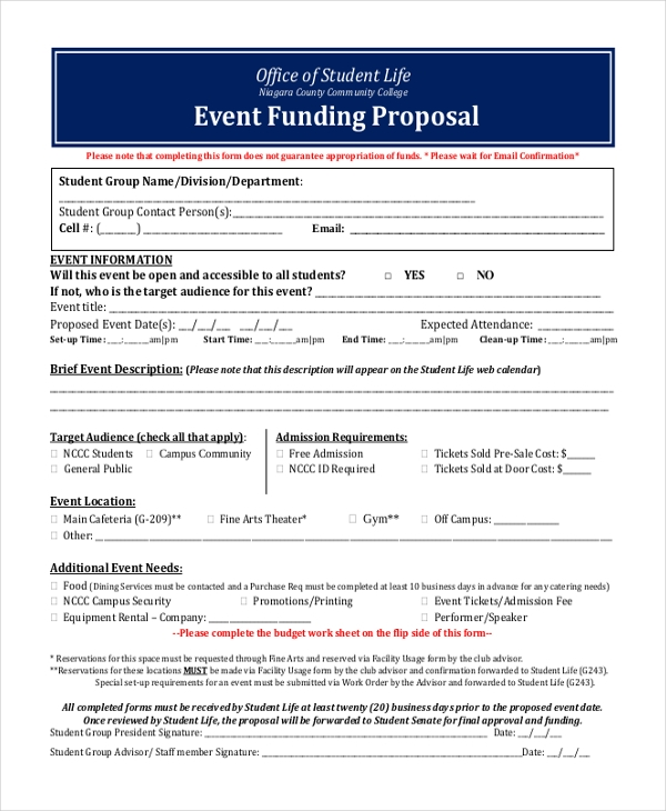 event funding proposal form