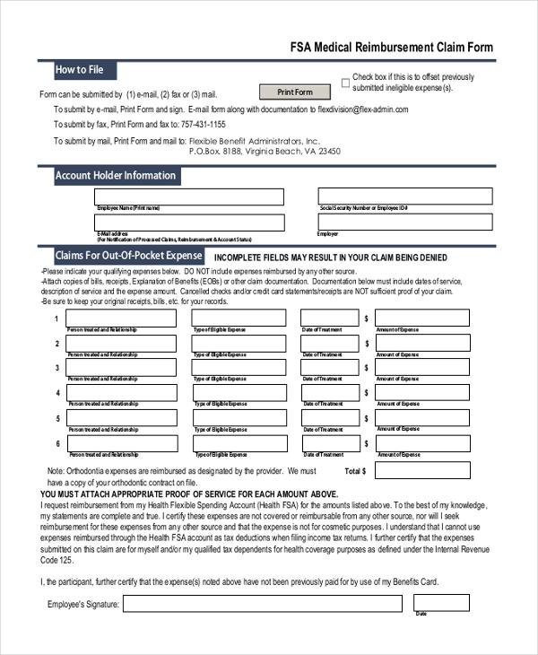 Sample Medical Reimbursement Form 10 Free Documents in PDF – Sample Medical Claim Form