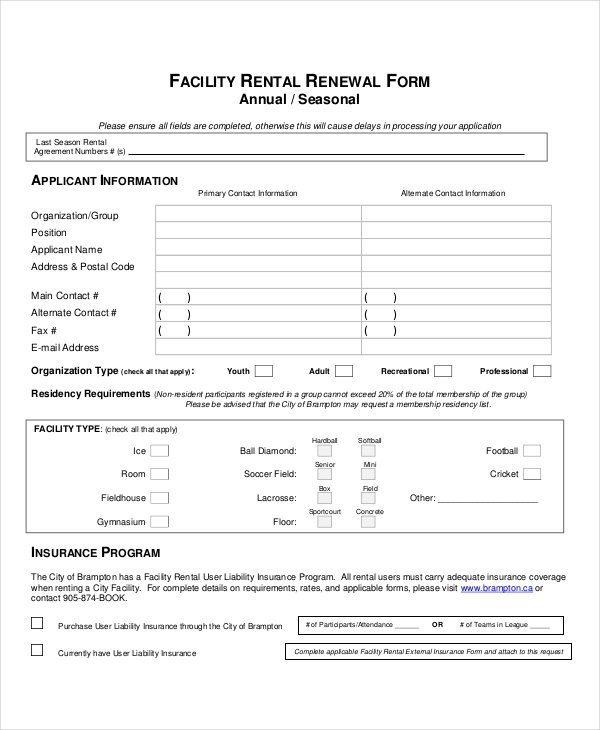 ordinaire Facility Rental Application Renewal Form