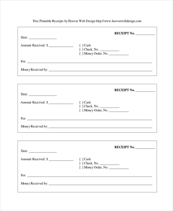 free blank printable receipt form