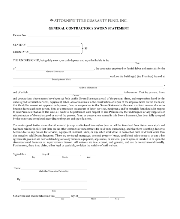 Sworn Statement Templates. Sworn Affidavit Sample For Immigration