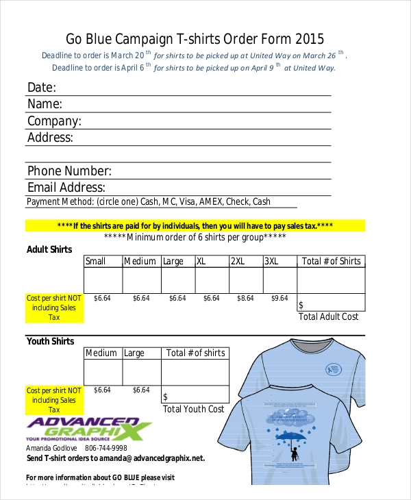 go blue campaign t shirts order form