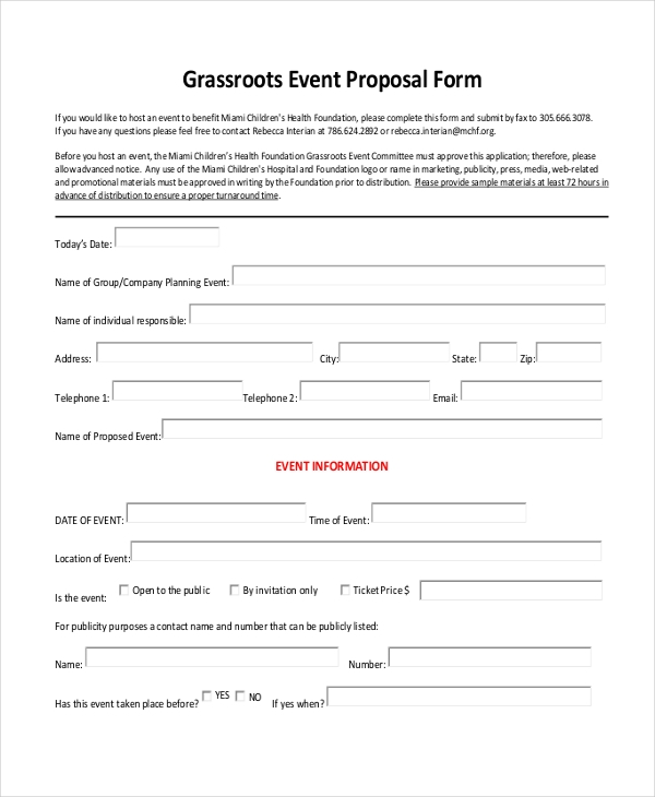 grassroots event proposal form