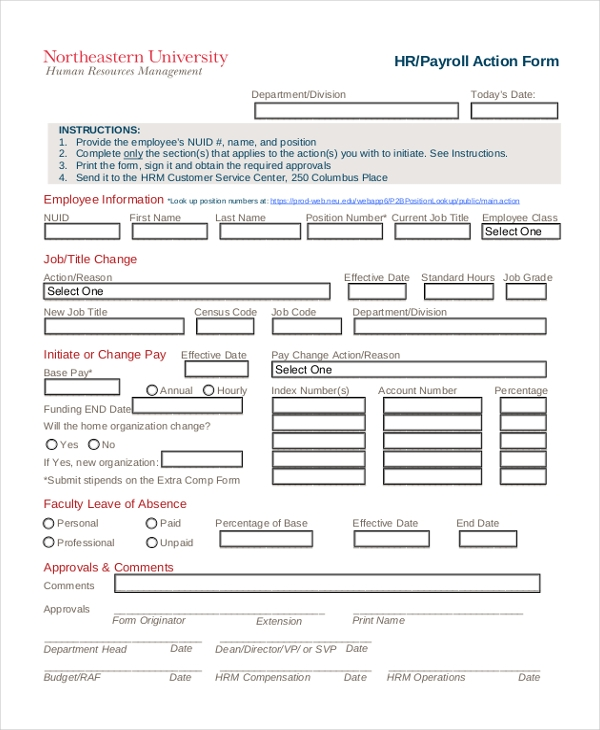 Sample HR Payroll Action Form  Payroll Forms Free