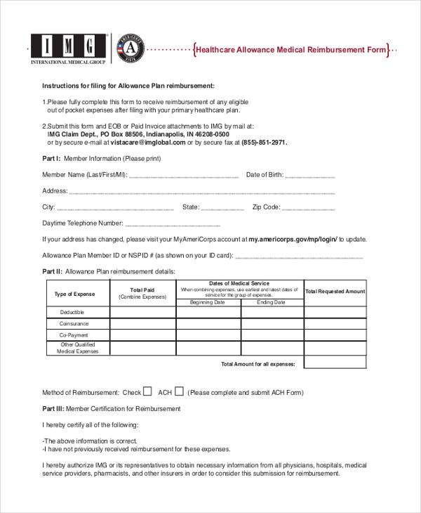 healthcare allowance medical reimbursement form