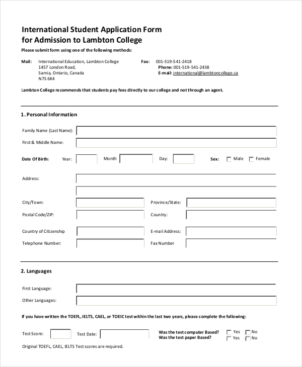 international student application form