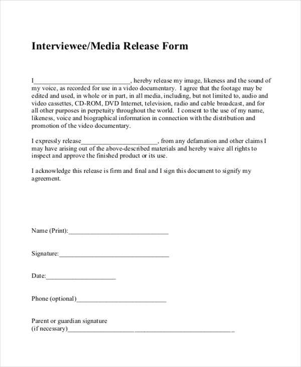 Sample Media Release Form   Free Documents In Pdf
