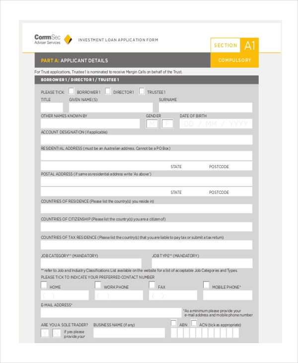investment loan application form