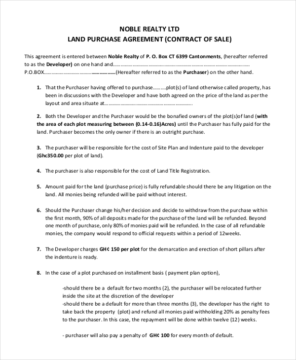property purchase and sale agreement template  Sample Land Purchase Agreement Form - 7  Documents in PDF, Word