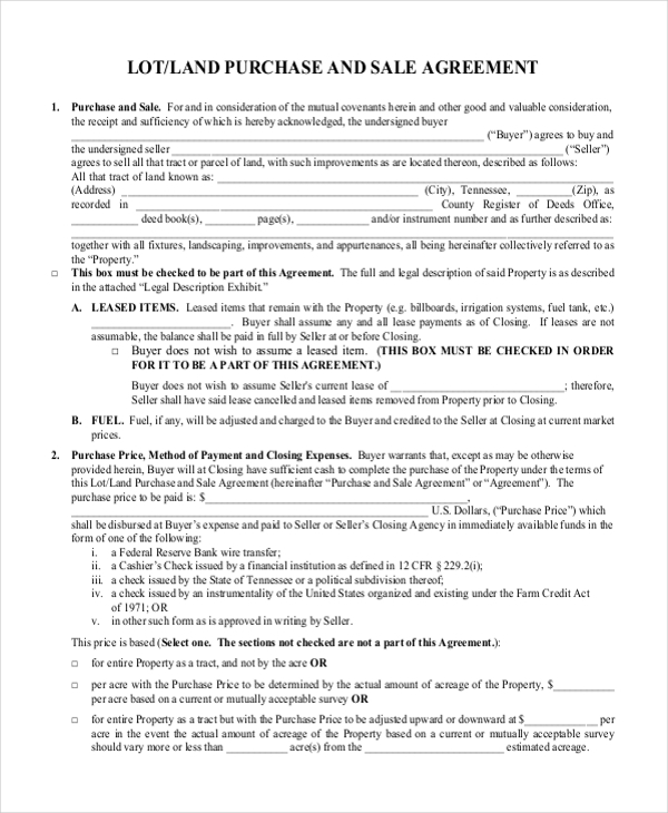 Sample land purchase agreement form 7 documents in pdf for Contract for sale of land template