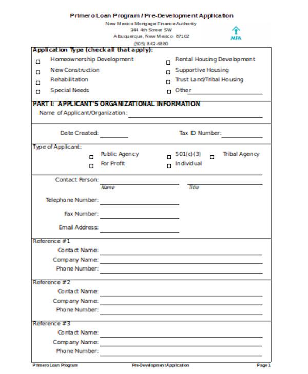 loan program application form