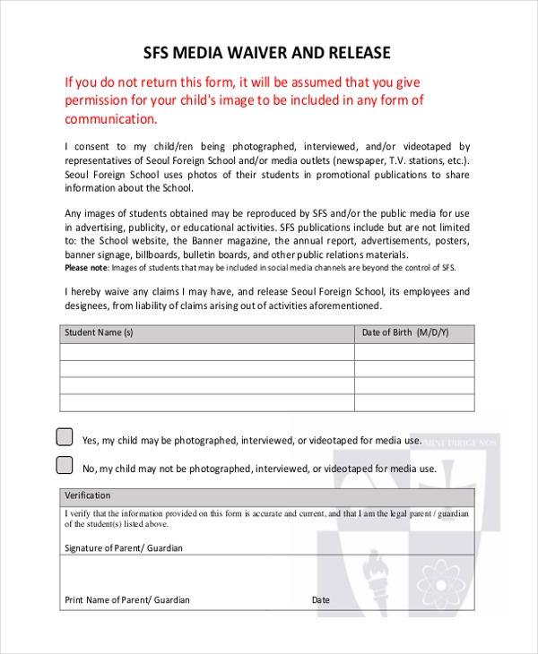 media waiver and release form