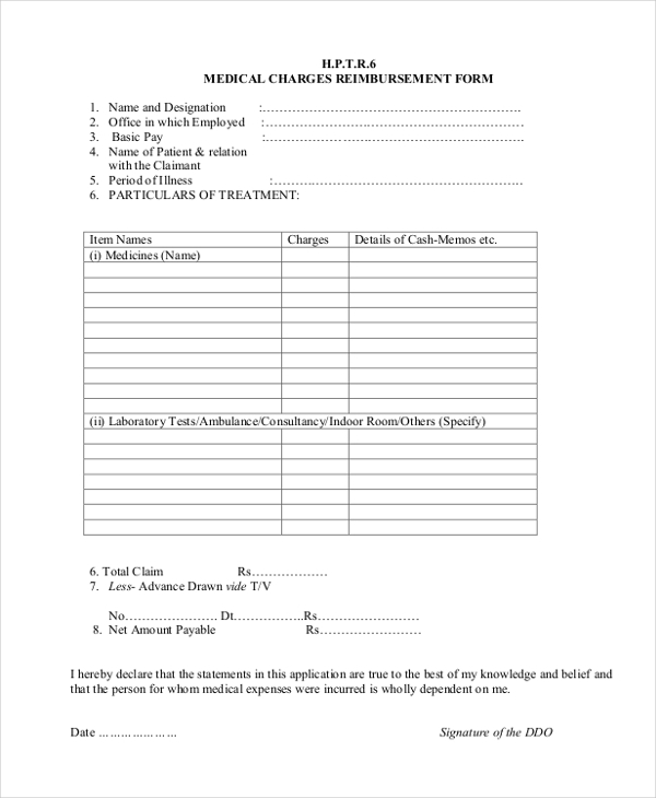Sample Medical Reimbursement Form 10 Free Documents in PDF – Reimbursement Form