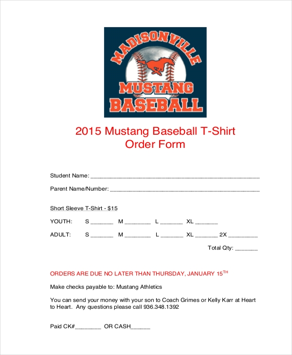 mustang gear t shirt order form