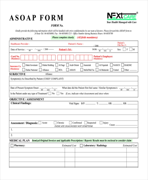 nextcare reimbursement asoap form