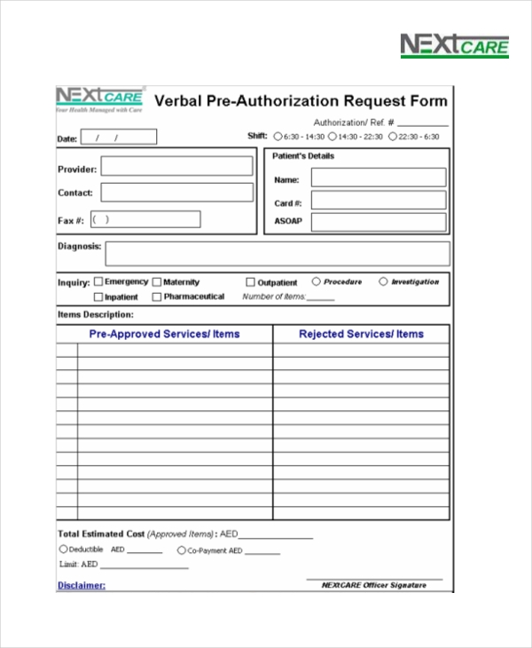 nextcare verbal pre authorization request form