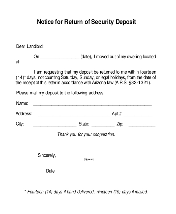 notice for return of security deposit