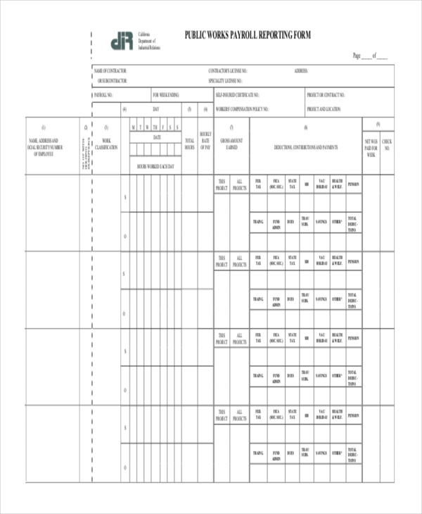 public works payroll reporting form