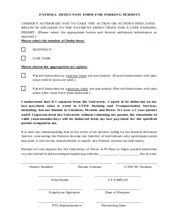 parking permits payroll deduction form