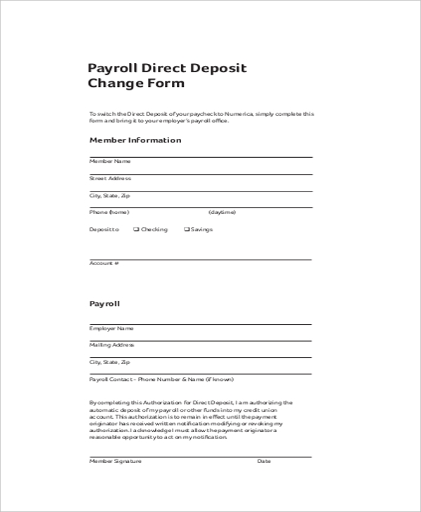Sample Payroll Direct Deposit Change Form