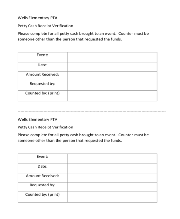 Petty Cash Receipt Verification Form  Cash Receipt Sample