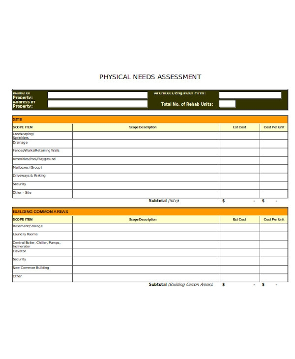 physical needs assessment form