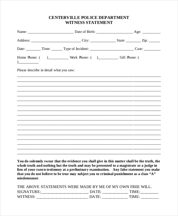 Sample Witness Statement Form 10 Free Documents In Word Pdf .