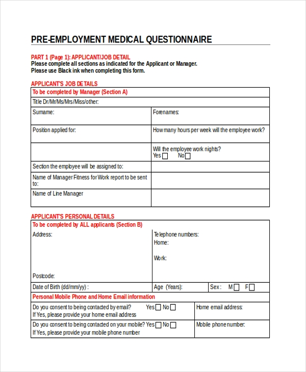 pre employment medical questionnaire