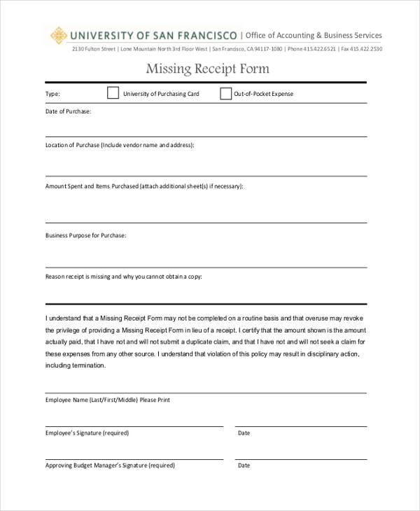Missing Receipt Form Template missing receipt form template forms – Free Printable Payroll Forms