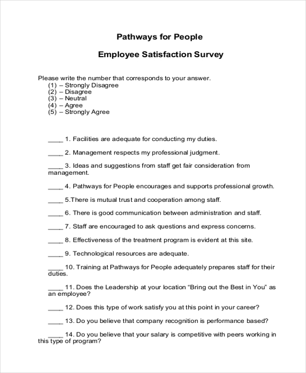 Sample Employee Satisfaction Survey Form   Free Documents In Pdf
