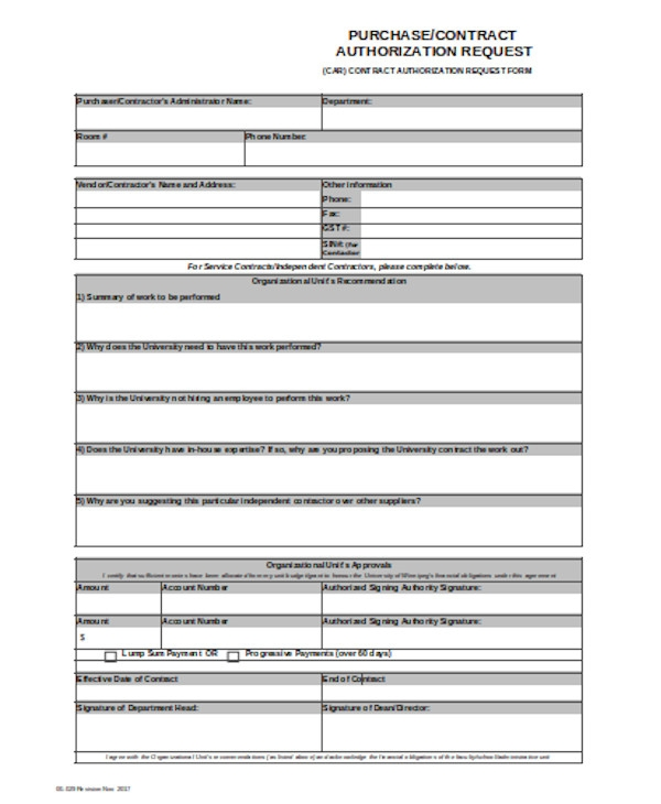 purchase contract authorization form