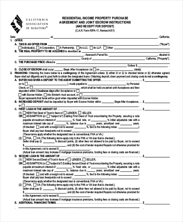 Sample Land Purchase Agreement Form   Documents In Pdf Word