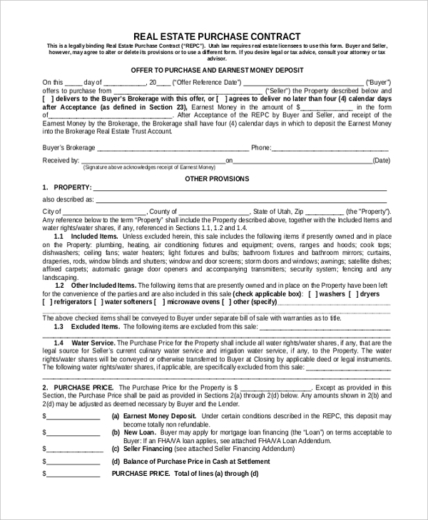 Sample Purchase Contract Form   Free Documents In Pdf Word