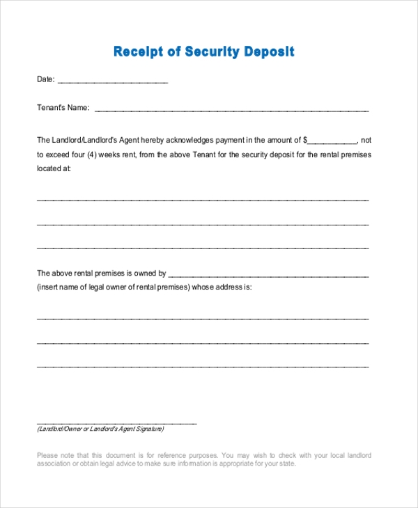 Sample Security Deposit Receipt Form   Free Documents In Word Pdf