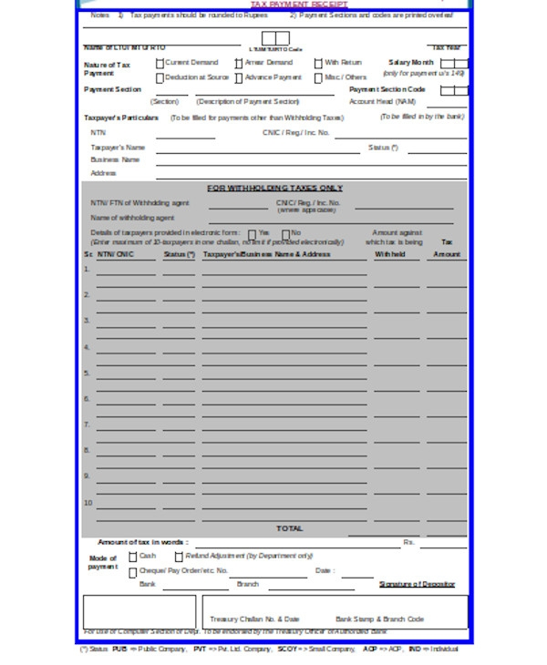 receipt of tax payment form