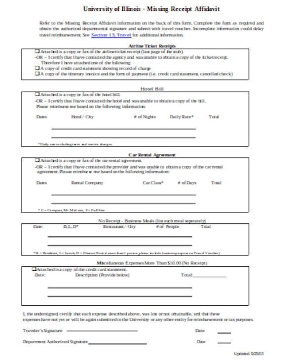rent receipt affidavit form