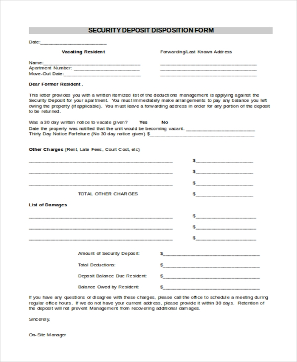 security deposit disposition form