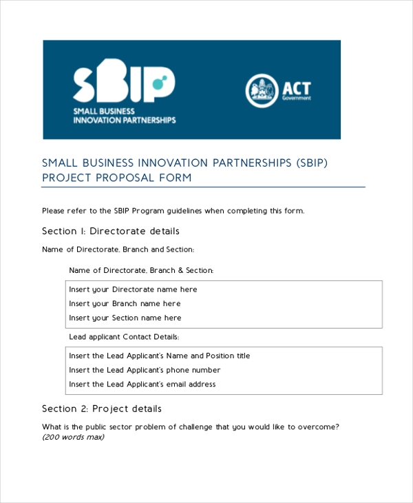small business partnerships project proposal form