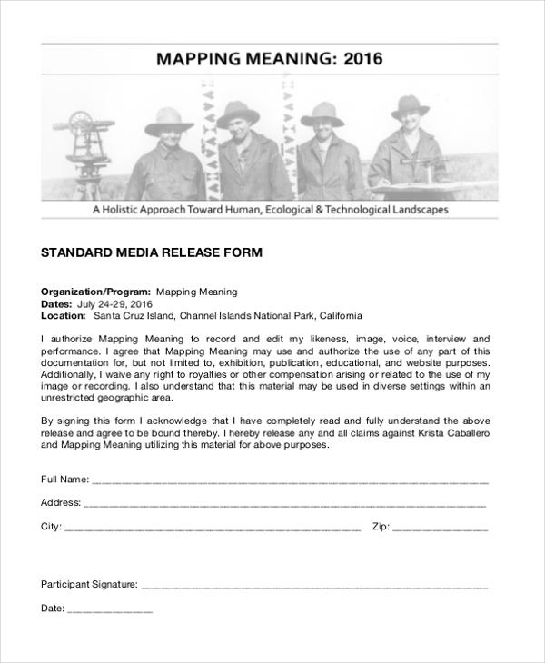 standard media release form
