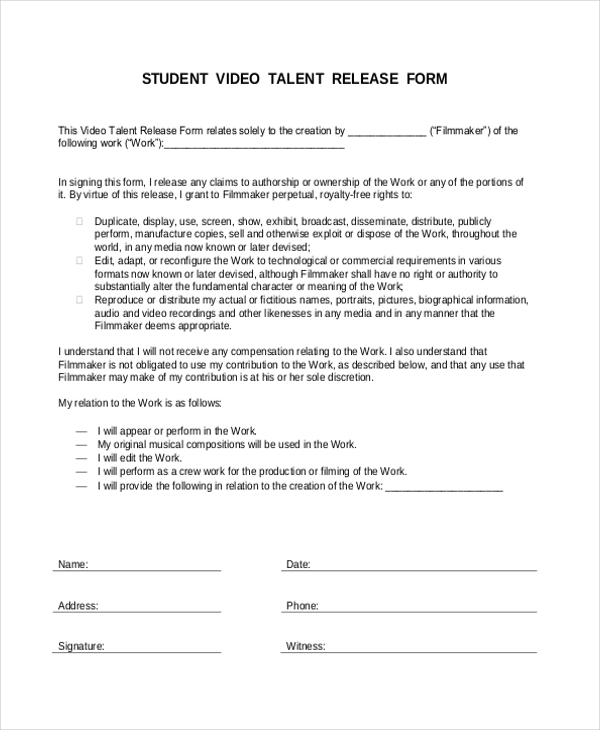 Video Release Forms Here Is An Example Of A Music Video Release