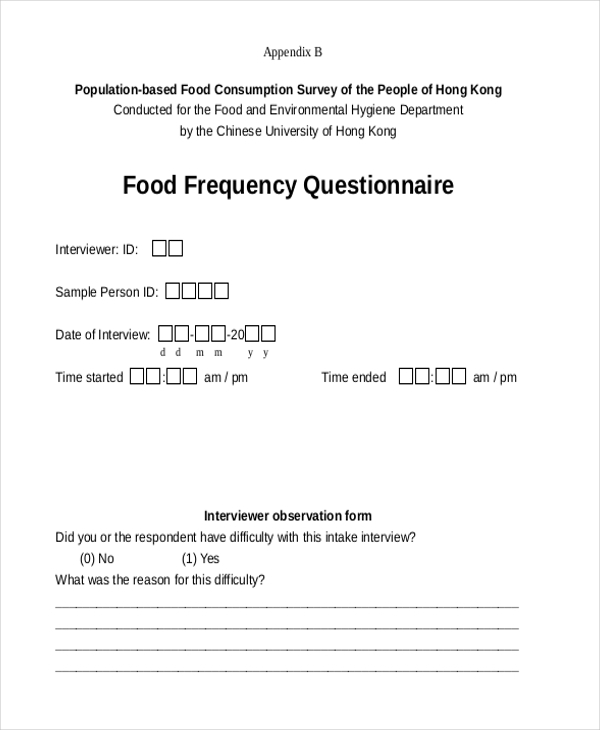 Sample Food Frequency Questionnaire Form - 7+ Free Documents In