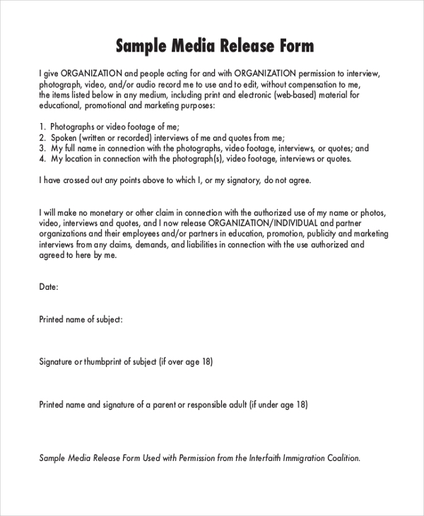 sample media release form