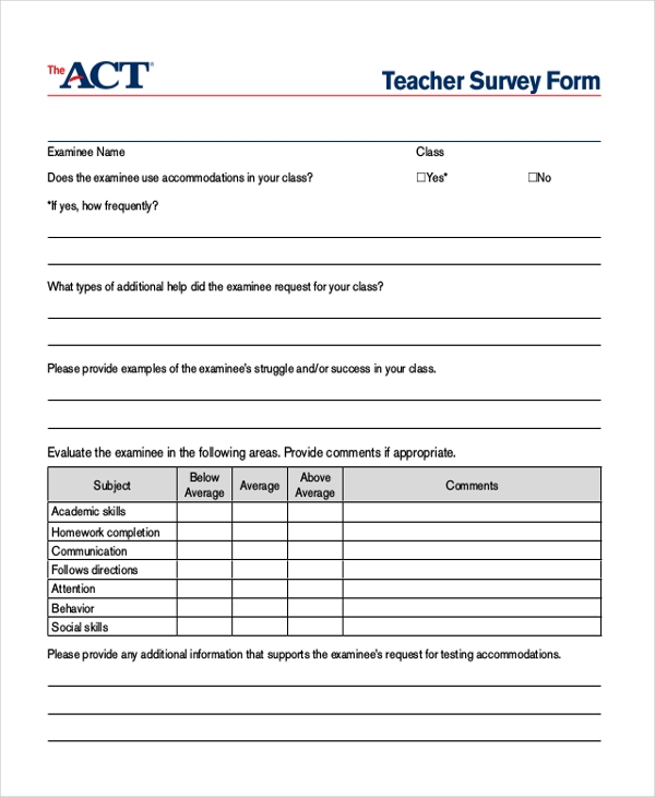 sample teacher survey form